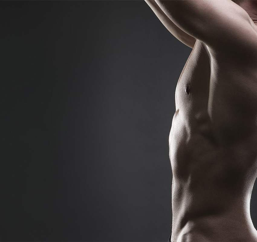 Side view of male torso with great definition